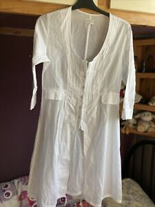 Sandwich white cotton long shirt 8/10 gypsy boho