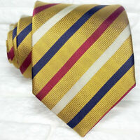 Striped bronze necktie silk Made in Italy wedding / business mens ties TRE brand