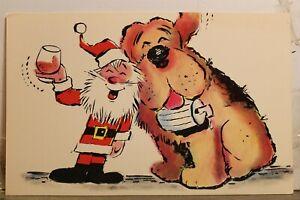 Christmas Xmas Santa Claus Dog Wine Postcard Old Vintage Card View Standard Post