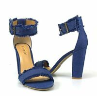 Womens Open Toe Strap Fabric Chunky High Heel Sandals Style Bamboo Rampage-80