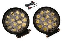 Pair Super Bright 42W Watt LED Spotlights & Wiring Kit for Adventure Motorbikes