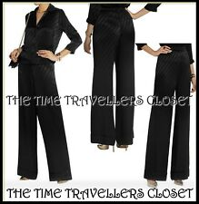 BNWT TOPSHOP Kate Moss Black Striped Satin Wide Pyjama Palazzo Trousers UK 6 8