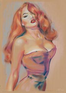 original drawing A3 275GZ art by samovar pastel Modern female portrait Signed