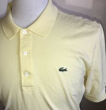 Lacoste Mens Yellow 3 Button Shirt Short Sleeve Yellow Polo Cotton Sz 6 Large