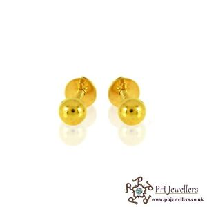 22ct 916 Yellow Gold Small Baby Ball Stud Earrings SE20