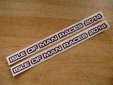 2 x isle of man races 2014 stickers - 200x10mm - visor decals - RED/BLACK
