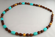 New Kenneth Jay Lane Turquoise Resin, Wood and 18-karat Gold Plated Beads 40""