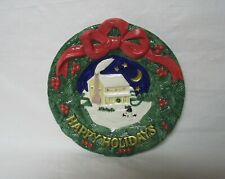 Fitz and Floyd Happy Holidays Ceramic Plate Wreath Themed Christmas Plate