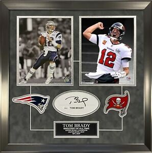 Tom Brady Signed Autographed Cut Custom Framed to 16x20 Super Bowl Pats Bucs JSA