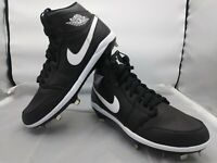 Jordan 1 Men's Size 7, 9,11. Retro Metal Baseball Cleats Black/White AV5355-001