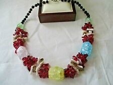 """MULTI COLOURED CRACKLED GLASS 18"""" NECKLACE"""
