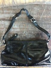 Pre owned THE SAK BLACK PATENT LEATHER HANDLED CLUTCH EVENING BAG HANDBAG MOD