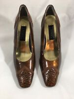 J Renee Womens Pumps Shoes Gold Bronze Embossed Patent Leather 3in Heels Size 8M