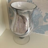 glossy marble effect footed hurricane vase ornament 25cm hurricane curved vase