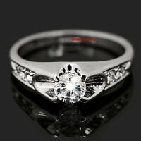 18k White Gold Plated Women's Wedding Bridal Ring Size 8 R29