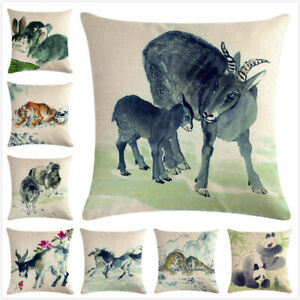 Linen Blend Ink Painting Animal Pattern Cushion Cover Cotton Square Pillowslip