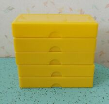 5 Vintage Slide Holders Hard Yellow Plastic
