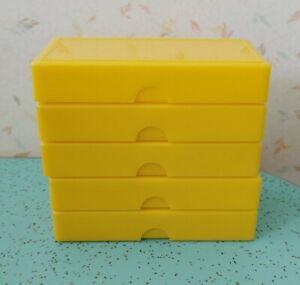 5 Vintage Slide Holders Hard Yellow Plastic