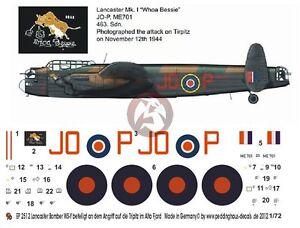 "Peddinghaus 1/72 Lancaster B I ""Whoa Bessie"" Markings No.463 RAAF Tirpitz 2513"