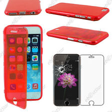 "Housse Etui Coque Portefeuille Silicone Gel TPU Rouge Apple iPhone 6 4,7""  Verre"