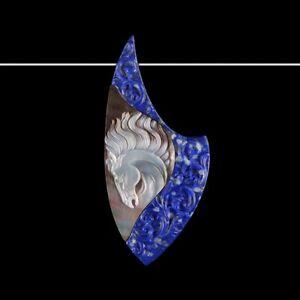 Carved Horse MOP & lapis lazuli Bead GE033000