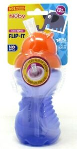 Nuby Active Sipeez Mega Flip-It Cup Silicone Straw No Spill 12oz Purple BPA Free