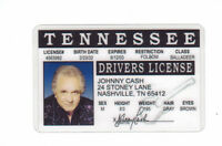 Johhny Cash the Man in Black.. plastic ID card Drivers License -