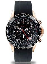 Sekonda Hombres Esfera Negra Cronógrafo Reloj Correa De Silicona Negro 3101