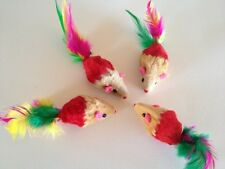 Cat toy lot 10 Red Real Fur Mice/ Feathers / Catnip+++FREE 4 mice /balls