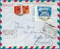 1961 - Gronchi - Raccomandata per Buenos Aires con Lire 170 n.918