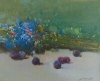 Blue Flowers, Original Oil painting, Handmade artwork, Original