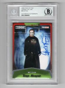 2008 Tristar TNA Cross The Line Sting Auto Signed Card #50 Beckett Certified BAS