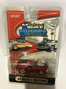 Muscle Machines The Original 1969 Red Mach 1 Ford Mustang, Die Cast, Scale 1:64.