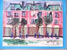 Charles André WOLF Aquarelle originale Paris Place des Vosges Moselle Hellimer