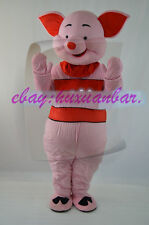 Lovely Pink Piglet Pig Cartoon Mascot Costume Fancy Party Dress Free Ship Adult
