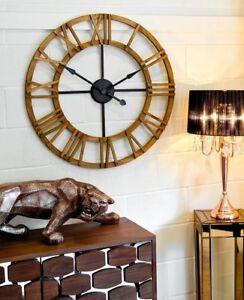 Large Round Wooden Statement Piece Wall Clock 90 cm