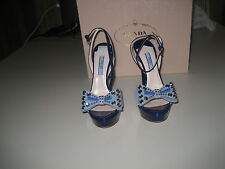 PRADA PATENT LEATHER STADDED BOW SANDALS SZ 35