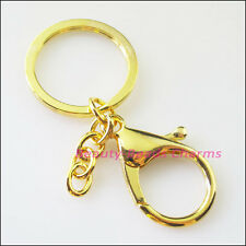 2 Gold Plated Trigger Clasp Swivel Clip Key Ring Bag Charm+Split Ring Key Chains