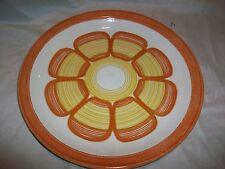 Vintage Retro Orange & Yellow Flower Plate Dinner Serving Round