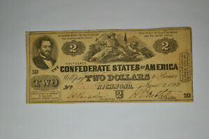 T42 $2 June 2, 1862.   Nice and Original.  Strong Signatures.