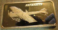 Antoinette VII 1 Troy oz. Hamilton Mint .999 Silver Bar - Plane, Aviation