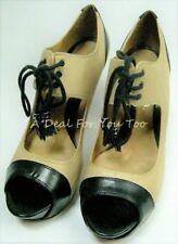 L A M B Beige Black Peep Toe Stiletto Heels Platform Lace Up Shoes 7.5 Women's