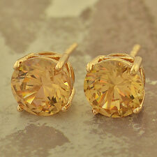 Yellow Gold Filled Round Champagne CZ small Cute Stud Earrings Fashion Girls lot