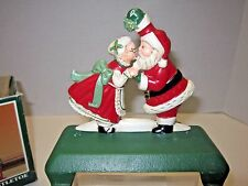 MCF Santa Mrs Claus Kissing Cast Iron Christmas Double Stocking Holder w/box