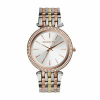 NEW MICHAEL KORS MK3203 LADIES TRI TONE DARCI GLITZ WATCH - 2 YEARS WARRANTY