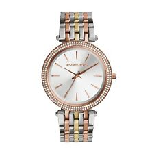 NEW MICHAEL KORS MK3203 LADIES TRI TONE DARCI GLITZ WATCH - 2 YEAR WARRANTY
