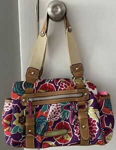 Lily Bloom flowered purse Pre Owned 3 sections Canvas handle