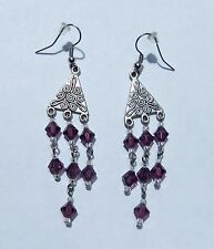 HANDCRAFTED SWARVOSKI CRYSTAL DANGLE EARRINGS