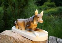 Royal Dux Bohemia um 1920 reizender Schäferhund glasiert Porzellan Figur 29cm
