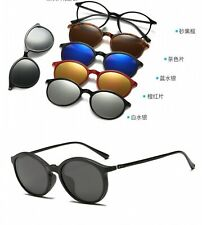 Magnet Sunglasses Men Clip On Eyeglasses Five Lens Polarized Round Glasses Frame